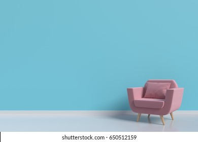 The pink armchair in the living room wall color blue,3d rendering