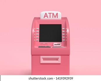 pink ATM machine business technology concept 3d render abstract cartoon style