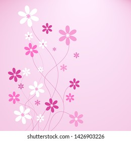 Pink background with colorfull flowers