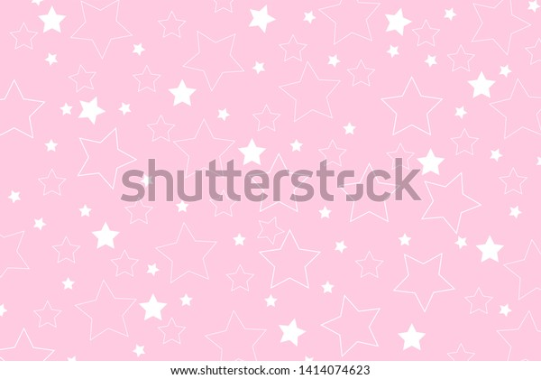 Pink background and white stars.