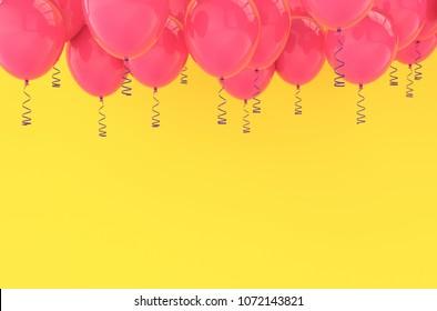 Pink balloons for birthday party or balloon festival design with copy space for text. Bright yellow background for holiday celebration greeting card. 3D rendering illustration