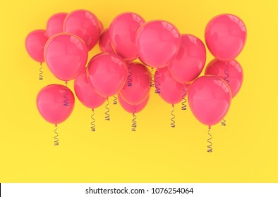 Pink balloons for birthday party or balloon festival design. Realistic  glossy baloons on bright yellow background for holiday celebration greeting card. 3D rendering illustration