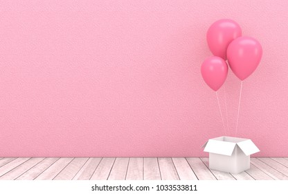Pink Balloons Floating And White Open Box With Wooden Floor On Wall BackgroundImage