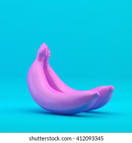 Pink banana on a blue background, 3d illustration