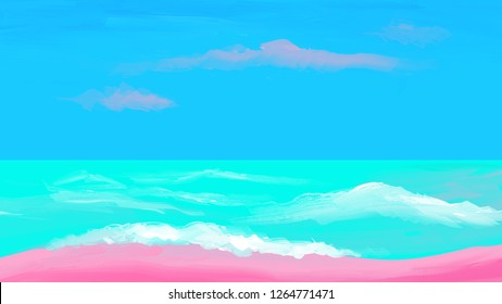 Pink beach with turquoise water on horizon. Oil painting, digital painting. 5K abstract monitor wallpaper. Digital art design. Сolorful 16:9 wallpaper. Сorporate identity cover. Poster, banner element