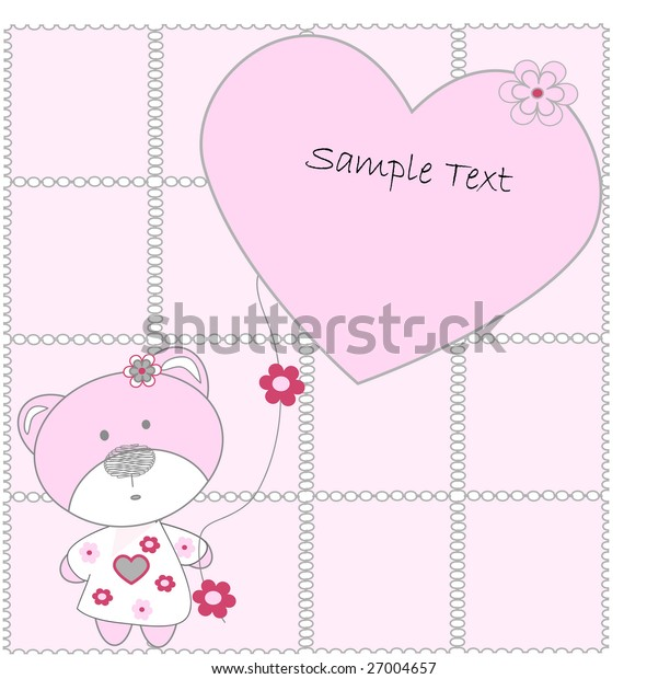 The pink bear with hearts on pink background