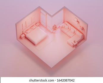Pink bed and sofa on heart shape bedroom in love or sweet home concept. Isometric part of house 3d rendering.