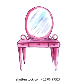 Pink bedroom furniture. Dressing table. Hand-drawn watercolor illustration. Isolated on white background.