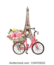 Pink bicycle with flowers in basket and Eiffel tower (Paris, France). Watercolor for french design