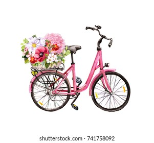 Pink bicycle with flowers in basket. Watercolor