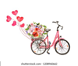 Pink bicycle with hearts. Romantic watercolor for Valentine day, love, wedding card