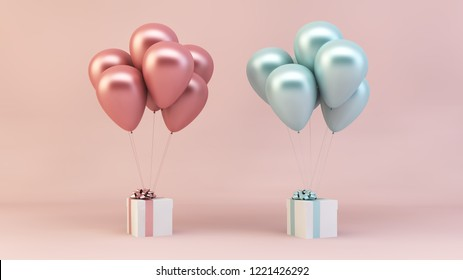 pink and blue balloons floating with presents 3d rendering