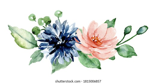 Pink and blue flowers watercolor, floral clip art perfectly for printing on invitations, cards, sublimation print on t shirt and other. Arrangement isolated on white background. Hand painting.