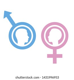 pink and blue Gender symbols with man and woman isolated