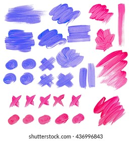 Pink and blue paint spots, perfect background for text