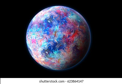 Pink and blue planet 3d illustration of watercolor texture