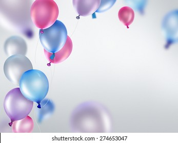pink blue and purple balloons on light background