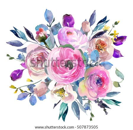 Pink blue purple watercolor flowers peonies stock illustration pink blue purple watercolor flowers peonies roses ranunculus round bouquet isolated on white background mightylinksfo