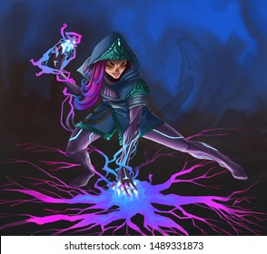 pink and blue sorceress girl conjures in the dark
