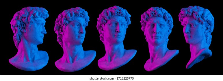 Pink and blue vaporwave style lightning 3D rendering illustration of head bust classical sculpture in 5 different views isolated on black background.