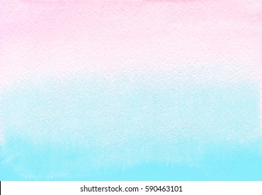 Pink and blue watercolor gradient background. Ombre texture