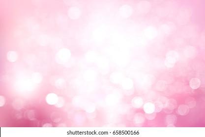 Pink blurred bokeh splash design background.Holiday xmas Christmas wallpaper.Valentine day card.Romantic blur.