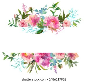 Pink Blush Turquoise Gold Watercolor Floral Arrangement Isolated on White Background