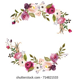 Pink Bordo Peach Watercolor Floral Wreath