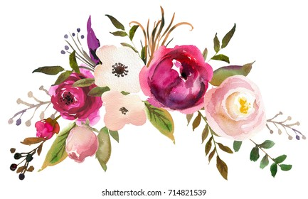 Pink Bordo Peach White Watercolor Floral Boho Chic Embracing Bouquet.