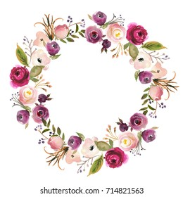 Pink Bordo Peach White Watercolor Floral Wreath