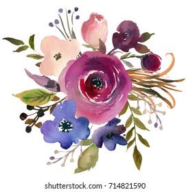 Pink Bordo Violet Blue Watercolor Floral Bouquet.