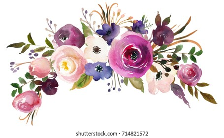 Pink Bordo Violet White Watercolor Floral  Bouquet.