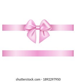 pink bow and ribbon on white background