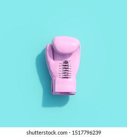 Pink Boxing glove on blue color background. minimal sport idea. 3D Render.