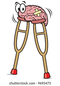Pink brain wearing bandages on crutches - recovering from injury