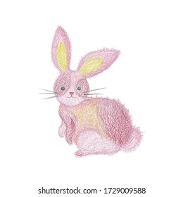 Pink Bunny. Hand drawn illustration. Drawing with colored pencils. Isolated on white.