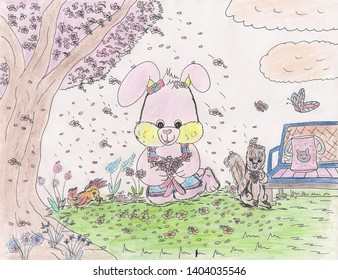 Pink Bunny Rabbit with Flowers