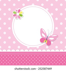 pink butterfly baby girl greeting card illustration