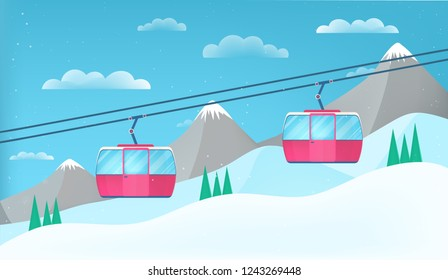 Pink cable cars moving above the ground against winter landscape with ski slope covered with snow, trees and mountains on background. Cableway or aerial lift. Colorful cartoon illustration.