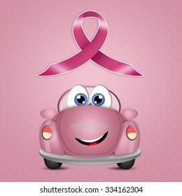 Pink car with pink awareness ribbon