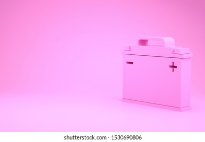 Pink Car battery icon isolated on pink background. Accumulator battery energy power and electricity accumulator battery. Minimalism concept. 3d illustration 3D render