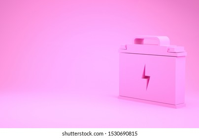 Pink Car battery icon isolated on pink background. Accumulator battery energy power and electricity accumulator battery. Lightning bolt. Minimalism concept. 3d illustration 3D render