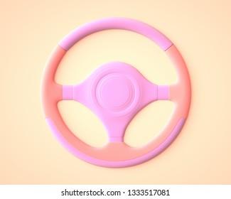 Pink car steering wheel. 3D rendering