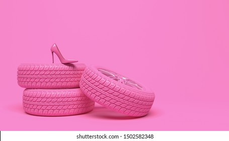Pink car wheel and pink women's shoe on a pink background. Creative conceptual illustration in a glamorous girlish style. Copy space for text or logo. 3D rendering.
