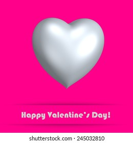 Pink card for Valentine's day with heart