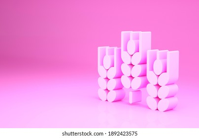 Pink Cereals set with rice, wheat, corn, oats, rye, barley icon isolated on pink background. Ears of wheat bread symbols. Minimalism concept. 3d illustration 3D render.