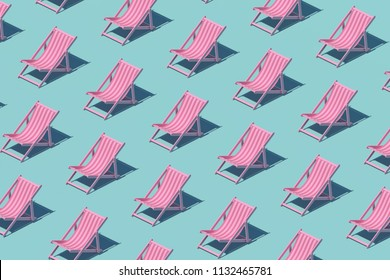 Pink chaise-longue pattern on pastel background. Minimal summer concept. Isometric print. 3d render