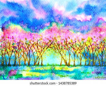 Pink cherry blossom forest spring season watercolor painting illustration hand drawn design background