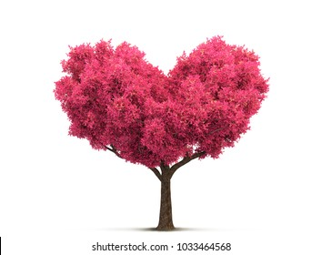 pink cherry blossom tree in heart shape 3D illustration