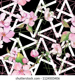 Pink cherry blossoms. Floral botanical flower. Seamless background pattern. Fabric wallpaper print texture. Aquarelle wildflower for background, texture, wrapper pattern, frame or border.